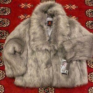 Adrienne Landau Faux Fur Coat 3/4 Sleeve L-NWT